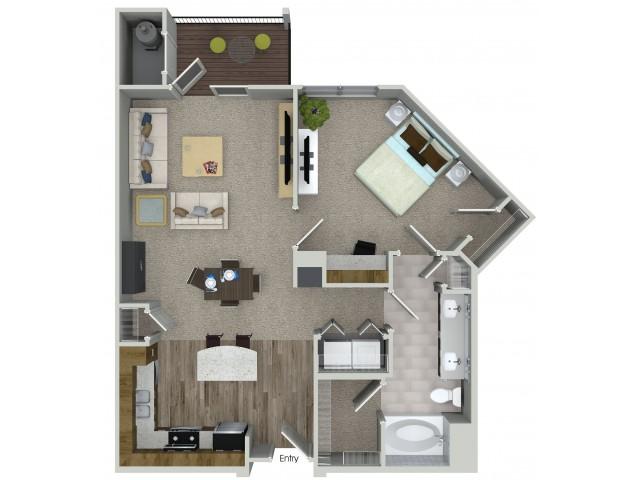 1 bedroom 1 bathroom A3 floorplan at Mave Apartments in Stoneham, MA