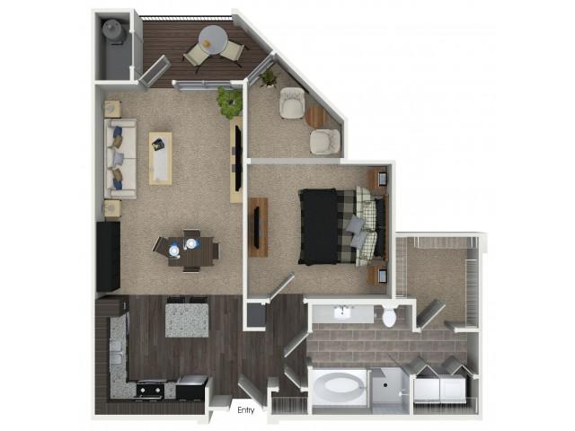 1 bedroom 1 bathroom A4 floorplan at Mave Apartments in Stoneham, MA