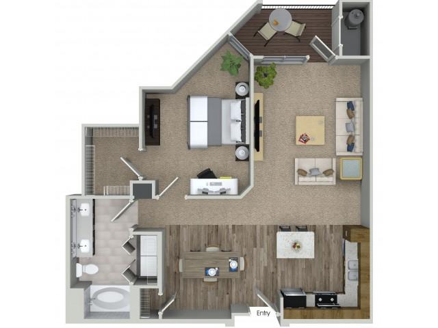 1 bedroom 1 bathroom A5 floorplan at Mave Apartments in Stoneham, MA