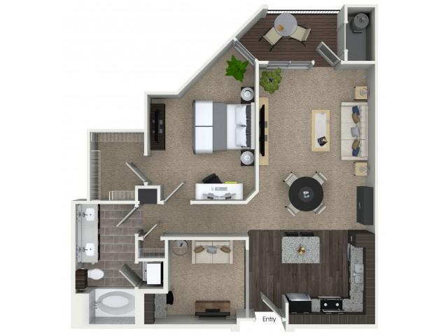 1 bedroom 1 bathroom A6D floorplan at Mave Apartments in Stoneham, MA