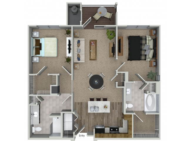2 bedroom 2 bathroom B1 floorplan at Mave Apartments in Stoneham, MA
