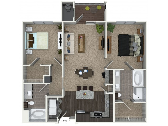 2 bedroom 2 bathroom B2 floorplan at Mave Apartments in Stoneham, MA