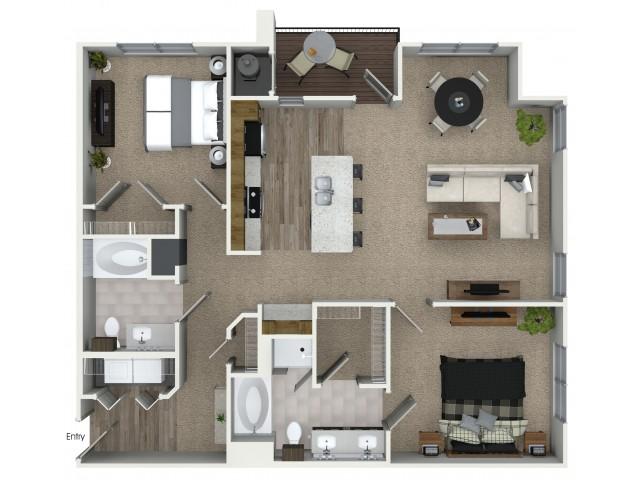 2 bedroom 2 bathroom B3 floorplan at Mave Apartments in Stoneham, MA