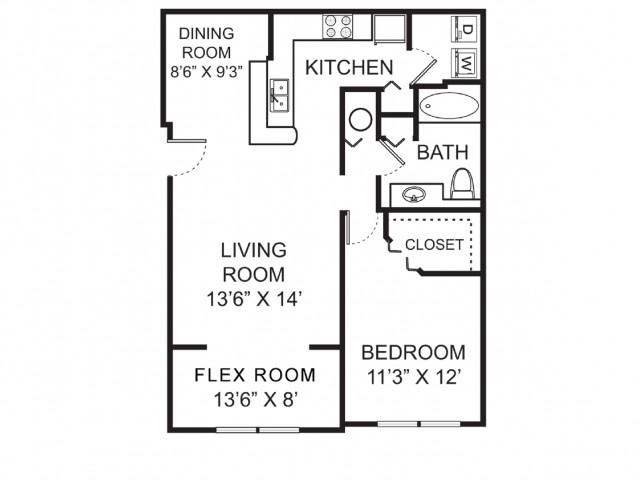 One bedroom one bathroom A2 floorplan at Vista Lago Apartments in West Palm Beach, FL