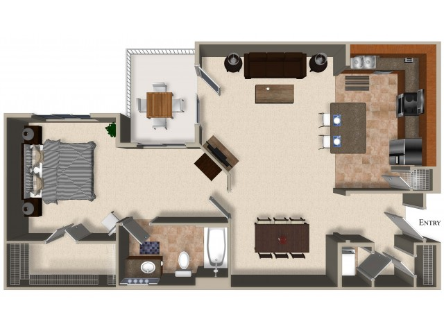 A6 One Bedroom One Bath Floorplan at Sanctuary Apartments in Renton WA