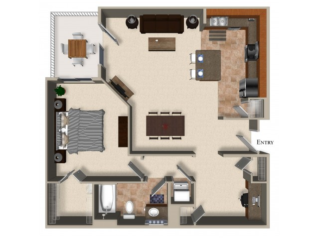 A9 One Bedroom One Bath Den Floorplan at Sanctuary Apartments in Renton WA