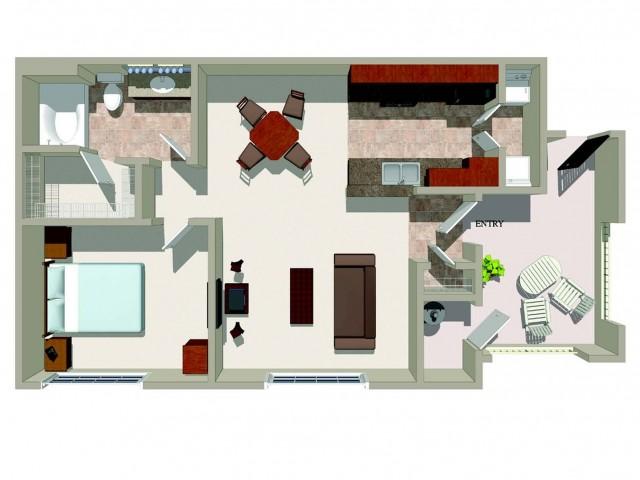 One bedroom one bathroom A1 Floorplan at Ridgestone Apartments in Lake Elsinore, CA