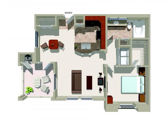 One bedroom one bathroom A2 Floorplan at Ridgestone Apartments in Lake Elsinore, CA