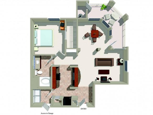 One bedroom one bathroom A4 Floorplan at Ridgestone Apartments in Lake Elsinore, CA