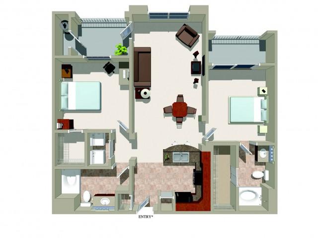 Two bedroom two bathroom B1 Floorplan at Ridgestone Apartments in Lake Elsinore, CA