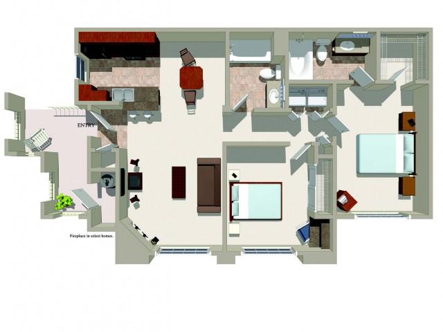Two bedroom two bathroom B4 Floorplan at Ridgestone Apartments in Lake Elsinore, CA