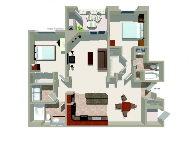 Two bedroom two bathroom B5 Floorplan at Ridgestone Apartments in Lake Elsinore, CA