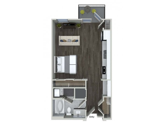 E1 studio floorplan at Inwood Apartments in Dallas, TX