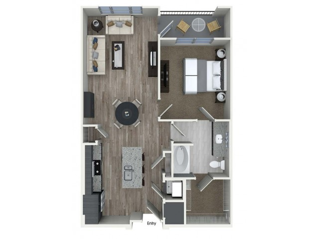 A5 1 bedroom 1 bathroom floorplan at A1 1 bedroom 1 bathroom floorplan at Inwood Apartments in Dallas, TX