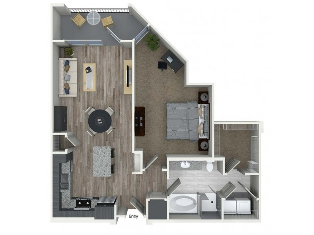 A7 1 bedroom 1 bathroom floorplan at A1 1 bedroom 1 bathroom floorplan at Inwood Apartments in Dallas, TX