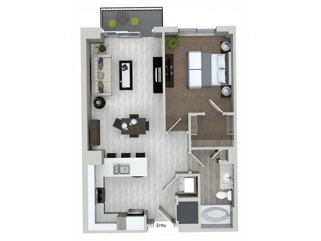 A1.5 1 bedroom 1 bathroom floorplan at ORA Flagler Village Apartments in Fort Lauderdale, FL