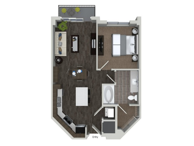 A1 1 bedroom 1 bathroom floorplan at ORA Flagler Village Apartments in Fort Lauderdale, FL