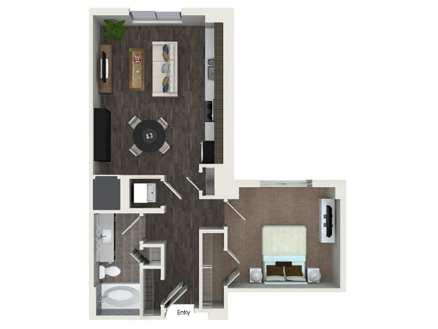 A2.1 1 bedroom 1 bathroom floorplan at ORA Flagler Village Apartments in Fort Lauderdale, FL