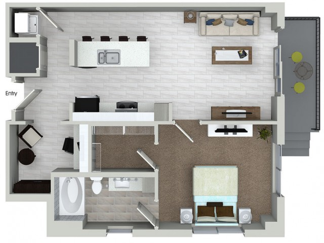A5D 1 bedroom 1 bathroom plus den floorplan at ORA Flagler Village Apartments in Fort Lauderdale, FL