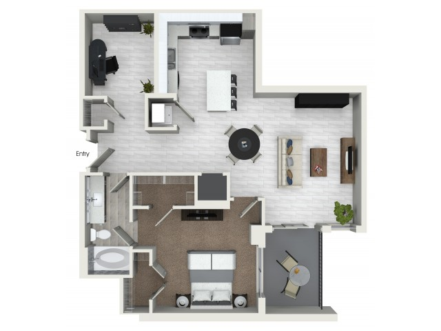 A6D 1 bedroom 1 bathroom plus den floorplan at ORA Flagler Village Apartments in Fort Lauderdale, FL
