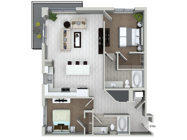 B5 2 bedroom 2 bathroom floorplan at ORA Flagler Village Apartments in Fort Lauderdale, FL