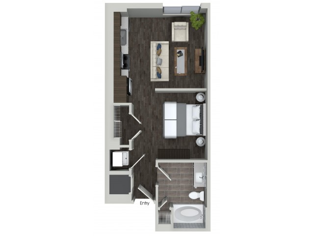 S1 0 bedroom 1 bathroom floorplan at ORA Flagler Village Apartments in Fort Lauderdale, FL