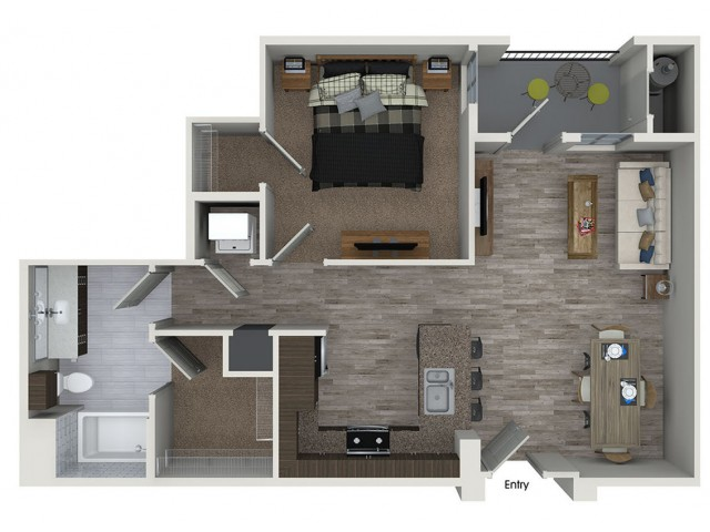 A1 1 bedroom 1 bathroom floorplan at 808 West Apartments in San Jose, CA