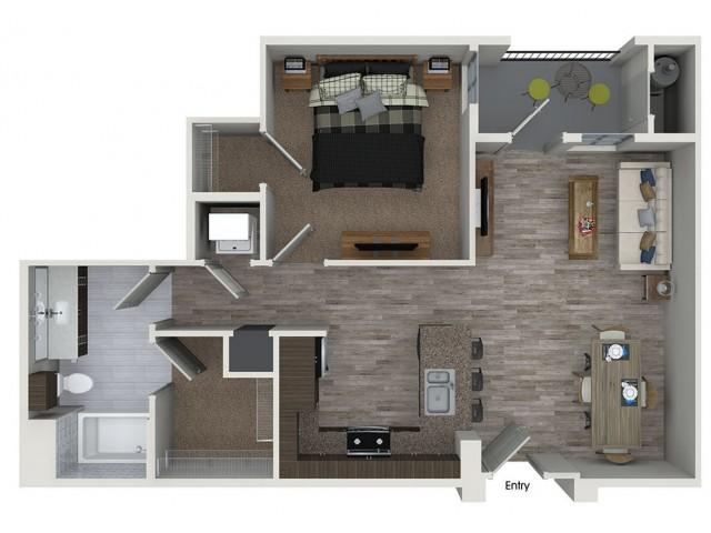 A1 1 bedroom 1 bathroom floorplan at 808 West Apartments in San Jose, CA