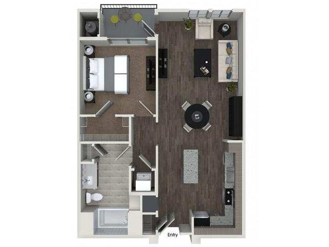 A4 1 bedroom 1 bathroom floorplan at 808 West Apartments in San Jose, CA