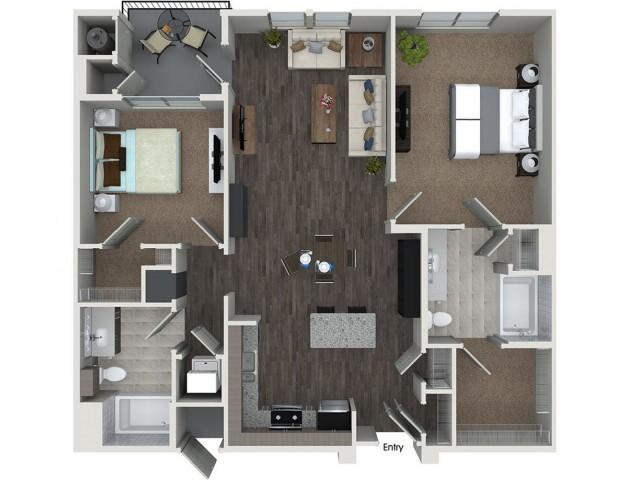 B4 2 bedroom 2 bathroom floorplan at 808 West Apartments in San Jose, CA