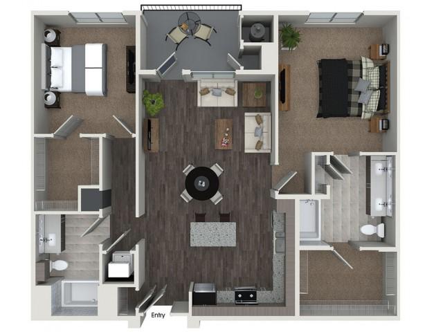 B6 2 bedroom 2 bathroom floorplan at 808 West Apartments in San Jose, CA