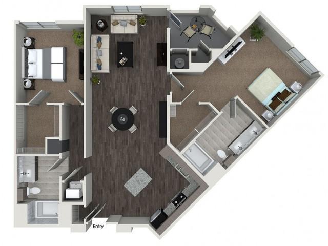 B8 2 bedroom 2 bathroom floorplan at 808 West Apartments in San Jose, CA