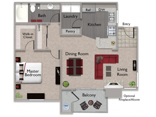 1 bedroom 1 bathroom A1 at Somerfield at Lakeside in Elk Grove CA