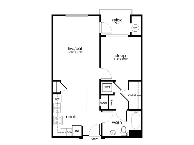 A4 1 bedroom 1 bathroom floorplan at Rize Irvine Apartments in Irvine, CA
