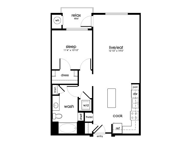 A5 1 bedroom 1 bathroom floorplan at Rize Irvine Apartments in Irvine, CA