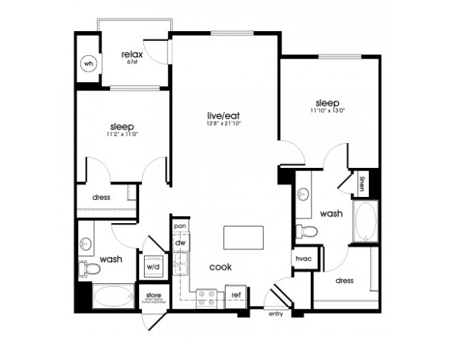 B5 2 bedroom 2 bathroom floorplan at Rize Irvine Apartments in Irvine, CA