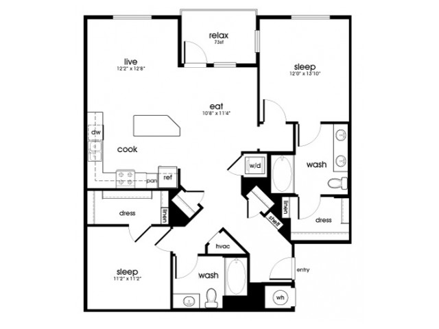 B7 2 bedroom 2 bathroom floorplan at Rize Irvine Apartments in Irvine, CA