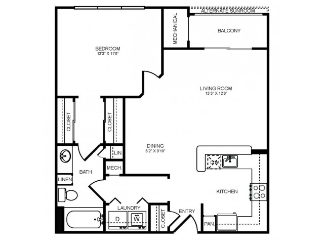 1 bedroom 1 bathroom A2 floorplan at The Montgomery Apartments in Bethesda, MD