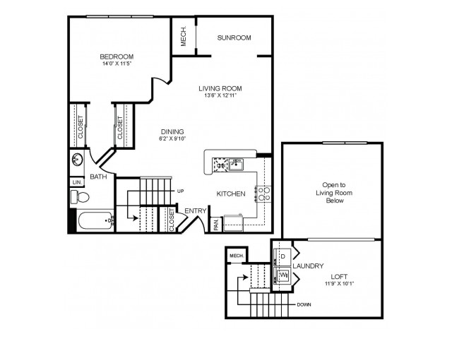 1 bedroom 1 bathroom plus loft and sunroom A2LS floorplan at The Montgomery Apartments in Bethesda, MD