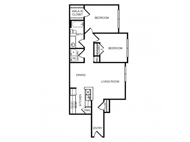 2 bedroom 1 bathroom B1 floorplan at The Montgomery Apartments in Bethesda, MD