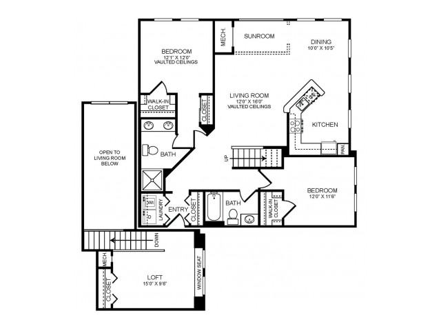 2 bedroom 2 bathroom plus loft and sunroom B3LS floorplan at The Montgomery Apartments in Bethesda, MD