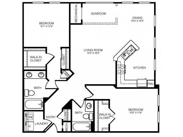 2 bedroom 2 bathroom plus sunroom B3S floorplan at The Montgomery Apartments in Bethesda, MD