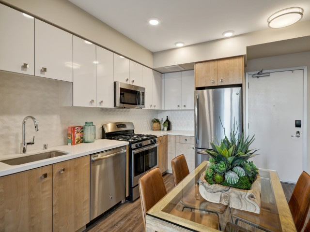 Geometric design package at L Seven Apartments in San Francisco CA