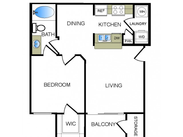 A1 1 bedroom 1 bathroom floorplan at The Reserve at Las Brisas Apartments in Irving, TX