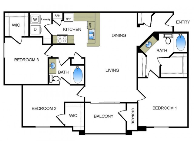 C1 3 bedroom 2 bathroom floorplan at he Reserve at Las Brisas Apartments in Irving, TX