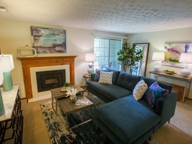 Gas fireplace at Mallard\'s Crossing Apartments in Medina, Ohio