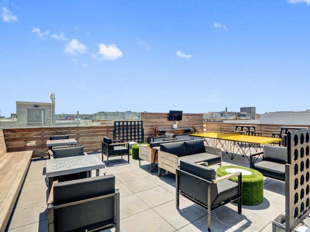 Rooftop game lounge at L Seven Apartments in San Francisco CA