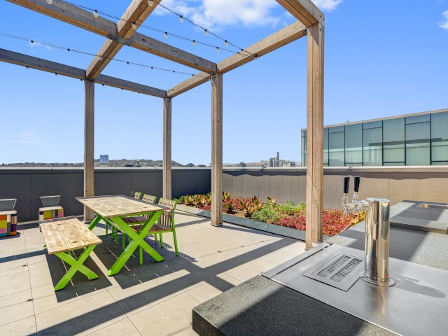 Beer garden at L Seven Apartments in San Francisco CA