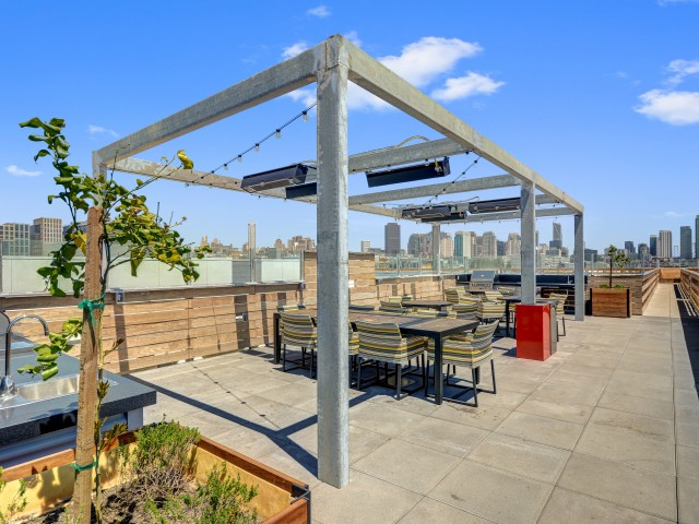 Rooftop barbecue terrace at L Seven Apartments in San Francisco CA