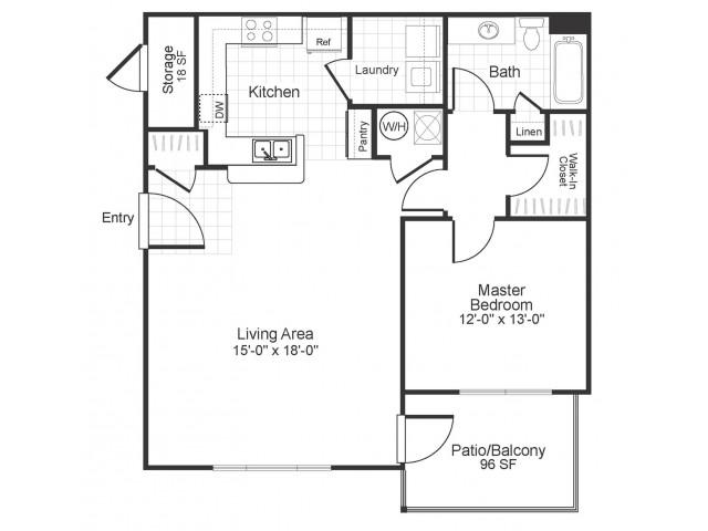 A1 1 bedroom 1 bathroom floorplan at Colton Creek Apartments in McDonough, GA